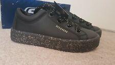 New Girls Skechers Black Leather Glitter Street Training school Shoes Size 2 £60