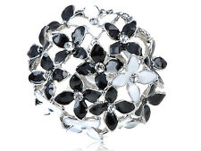 Interesting Cluster Cool Black White Enamel Round Floral Flower Ring Finger Band