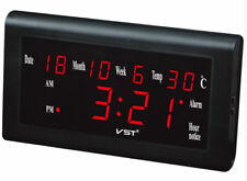 Wall Clock - VST-795W - LED All-Ages Calendar/Date/Thermometer and Hygrometer
