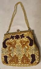 LA REGALE BEADED PURSE evening bag clutch hand made metallic gold bronze silver