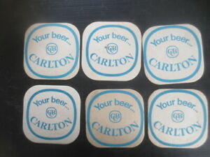 6 C.U.B.  x CARLTON late 1950,s,early 1960,s Issued Coasters one sided BLUE
