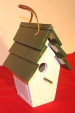 Cute Wood Bird House - Hand Made Indoor / Outdoor Home decor Green Roof