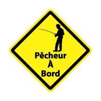 Autocollant pêcheur à Bord carré jaune sticker Taille:17 cm