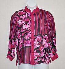 Bob Mackie Romantic Poppy Silk Blouse Size M Pink Multi