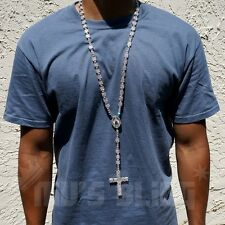 14k White Gold CZ Iced Out ROSARY SQUARE Silver Cross Pendant Men Necklace Chain