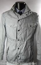 AQUASCUTUM grigio con cappuccio pieghevole SUPER Orton Aquamac breve Parka Stile Cappotto Di Pioggia 40r