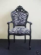 Poltrona/Capotavolo barocco nero in tessuto zebrato
