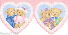 Pink Blue Vintage Teddy Bear Lace Heart Baby Nursery Laser Cut Wall paper Border