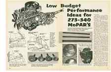 1969 LOW BUDGET PERFORMANCE IDEAS FOR 273-340 MOPARS  ~  NICE 6-PAGE ARTICLE