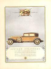 1930 CADILLAC V 16 4 DOOR GOLD + BLACK   ORIG VINT  CAR AD