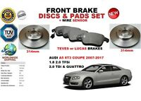 FOR AUDI A5 COUPE 8T3 07-17 FRONT BRAKE DISCS SET + BRAKE PADS KIT + WIRE SENSOR
