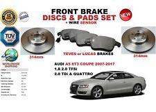 para AUDI A5 Coupe 8t3 07-17 Discos freno Delantero Set + pastillas de Kit +