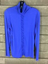Kenneth Cole Reaction 4257 Blue Solid Mock Neck Ruched Detail Top Womens M