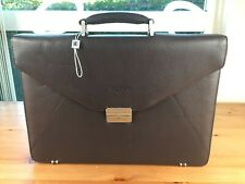 Balmain Paris Brown Leather Attache Briefcase *New Without Tags*