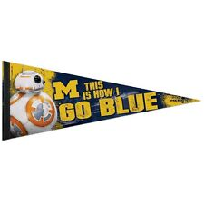 MICHIGAN WOLVERINES STAR WARS BB-8 THIS IS HOW I GO BLUE PENNANT 12x30 WINCRAFT