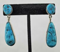 Sterling Silver & Kingman Nugget Turquoise Earrings by ROBERT & BERNICE LEEKYA
