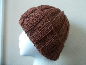 Hand knitted 100%  rustic wool beanie/hat, medium brown