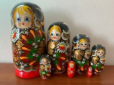 """Nesting Doll Matryoshka 9"""" 7 Pc Russian Classic Red Flowers Hand Painted Wooden"""