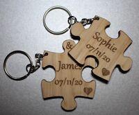 Personalised Wedding Day Gift 2x Jigsaw Oak Keyring Anniversary Valentines Day
