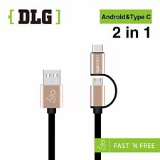 DLG TPE noodle Aluminum case 2in1 Micro USB+USB Type C Charging&Data Sync Cable