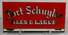 Old Fort Schuyler Ales & Lager Beer ROG Reverse Glass Sign Utica Brewing Co. NY