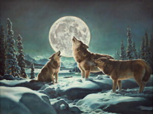 """""""By the Light of the Silvery Moon"""" Howling Wolves 24"""" x 18"""" Print Barbara Peets"""