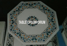 "14"" White Marble Top Coffee Table Marquetry Inlay Stone Home Furniture Decor"