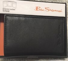 BEN SHERMAN NIB BLACK GENUINE LEATHER TRIFOLD  WALLET KENSINGTON COLLECTION