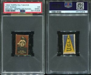 1950 Topps Felt Backs Ray Nagle (misspelled Nagel) RC (brown) PSA 5 MC UCLA