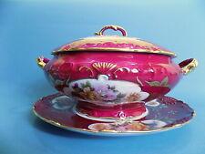 Limoges Porcelain Red / Gold / Floral Tureen & Base