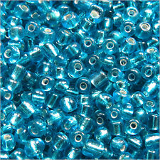 perline rocaille in vetro 2mm Foro Argentato Turchese 20g (12/0)