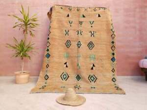 beni ourain Rug vintage Moroccan Boujaad Carpet handmade berber wool 5.8 x7.5 ft