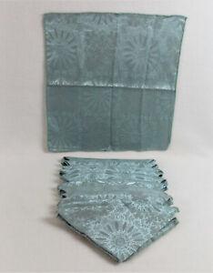 12 MARTHA STEWART EVERYDAY Dinner Napkins Teal Blue Damask BOHO Design UNUSED