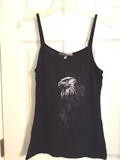 Hot Leather Ladies Spaghetti strap Top with Eagle and Roses Size X- Large Harley