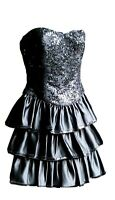 Betsey Johnson Womens Strapless Flared Dress Tiered With Black Sequins Size 4