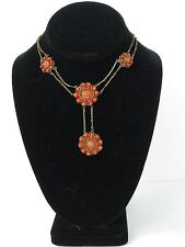 Antique Victorian Natural Red Salmon Mediterranean Coral silver necklace