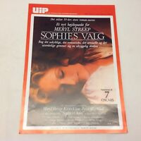 Sophie's Choice Meryl Streep Kevin Kline Vintage 1982 Danish Movie Press Release