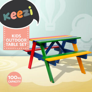 Keezi Kids Table and Chairs Picnic Bench Set Colourful Children Outdoor Indoor