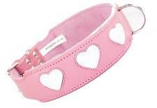 20-24 Inch Pink White Heart Staffordshire Labrador Pitbull Leather Dog Collar
