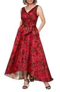 $258 ALEX EVENINGS FLORAL JACQUARD BALL GOWN SIZE 12 NWT