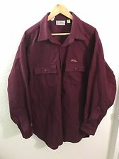 VTG L.L BEAN CHAMOIS CLOTH Button Up Shirt Sz 18 Tall Red Burgundy Made In USA