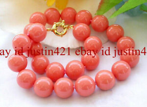 Natural 12mm South Sea Coral Pink Shell Pearl Round Gemstone Necklace 18'' T173