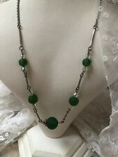 1930s Vintage Glass Necklace Green Bead And Link Metal Retro Jewelry Jewellery