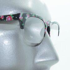 Retro Pink Floral Flower Frame 60's Bottomless Reading Glasses +2.00 Strength