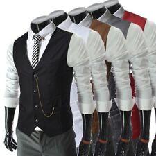Mens Metal chain Casual Vest Sleeveless Jacket Waistcoat Business Slim Fit New D