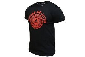 Sale Adidas Jiu Jitsu T Shirt BJJ MMA Tee Black and Red 100% Cotton Top