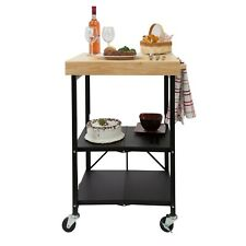 Refurbished Origami Folding Kitchen Cart on Wheels | for chef outdoor wine Black