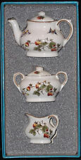 DISCONTINUED COALPORT STRAWBERRY PATTERN MINI / MINIATURE 7 PIECE TEA SET NIB