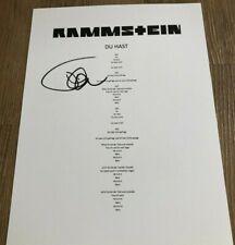 Till Lindemann Du Hast Rammstein Signed Autographed Lyric Sheet COA (E3)