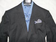 RICHARD JAMES Savile Row Men's  Gray Striped Two Button 100% Wool Suit 46R 38W